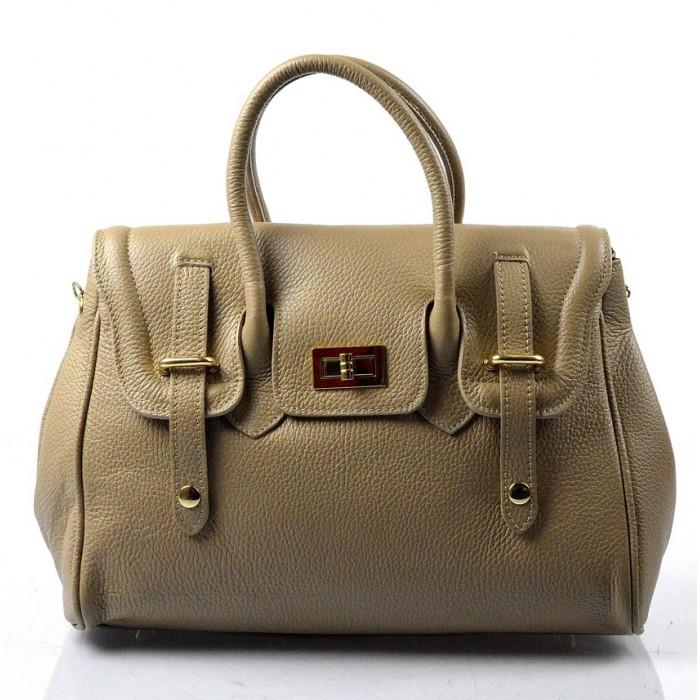 Kožená luxusní hnědá taupe kabelka do ruky Francis VERA PELLE 10181