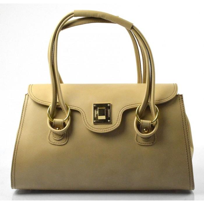 Kožená luxusní světlejší hnědá taupe kabelka Olgin VERA PELLE 10569
