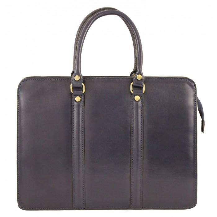 Kožená luxusní modrá kabelka do ruky ester VERA PELLE 21045
