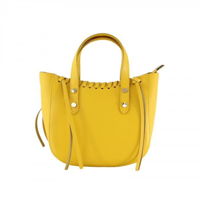 Kožená žlutá malá kabelka do ruky celine VERA PELLE 23875
