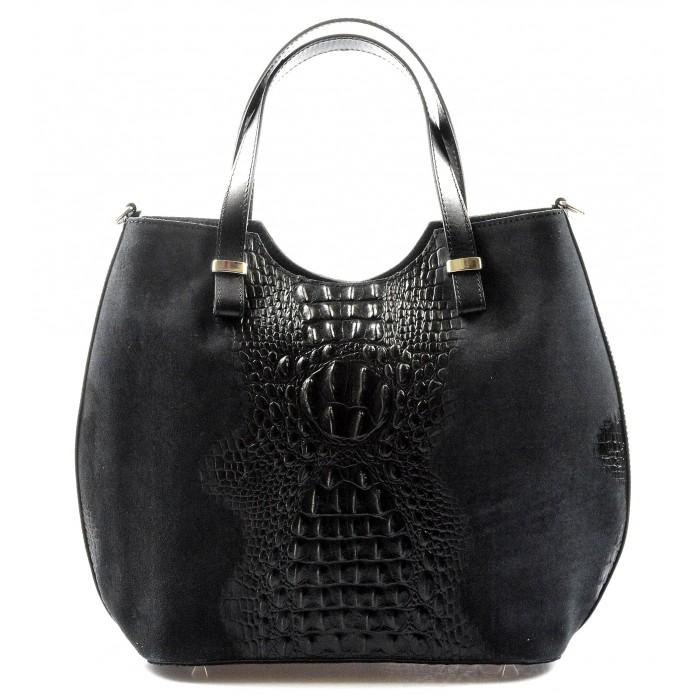 Kožená černá krokodýlí kabelka do ruky agata VERA PELLE 20584
