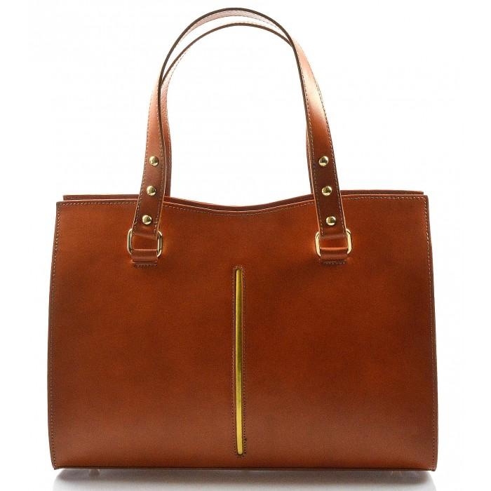 Kožená luxusní mahagonově hnědá kabelka eleanora VERA PELLE 21003