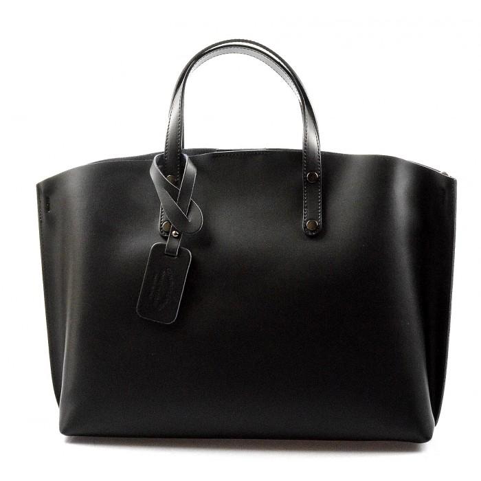 Kožená praktická černá velká taška Tanie 2v1 VERA PELLE 20121