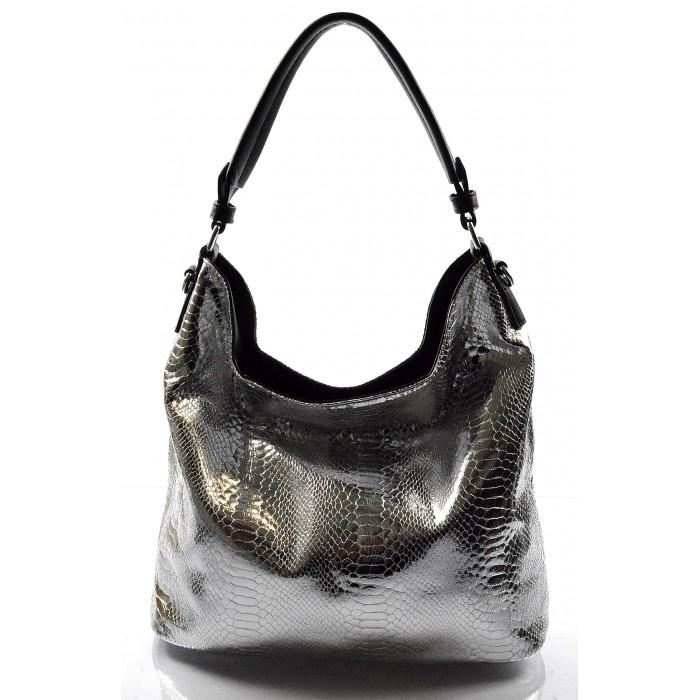 moderní lesklá stříbrná kabelka na rameno star two