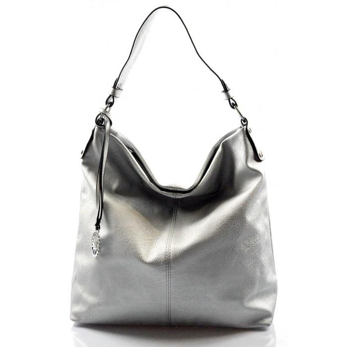 Elegantní světle stříbrná kabelka na rameno beata