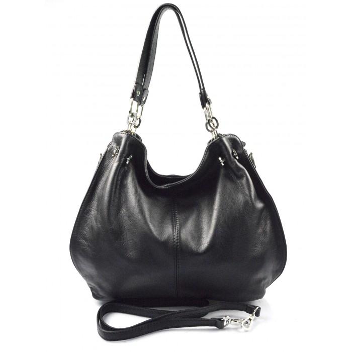 Kožená luxusní černá kabelka do ruky i přes rameno lorreine - KabelkyZeSveta 81d8f52ae94