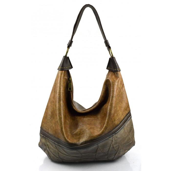 Elegantní opravdu velká hnědá camel volnočasová kabelka serena