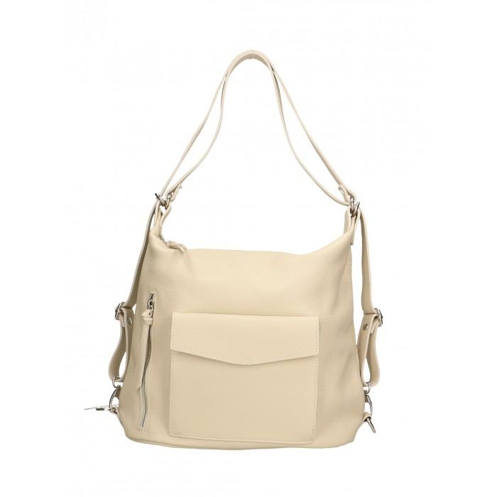 e8469f8f0e6 Praktická kožená větší béžová beige kabelka a batoh v jednom karin -  KabelkyZeSveta