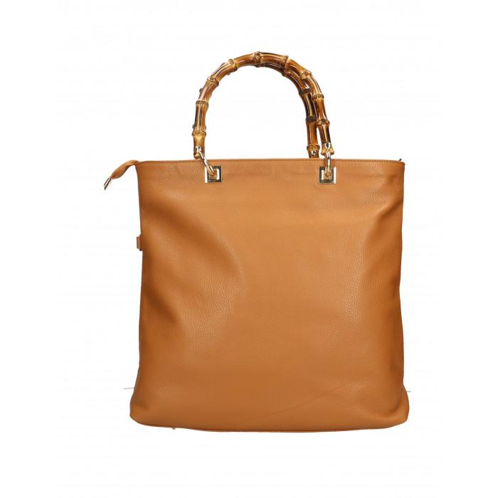 Kožená luxusní hnědá camel shopper kabelka kabelka do ruky laura -  KabelkyZeSveta b22ec0ae5d8