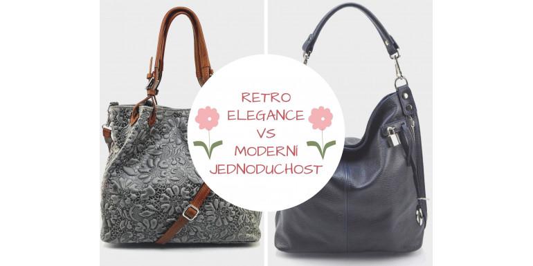 Retro elegance kožených kabelek vs moderní jednoduchost
