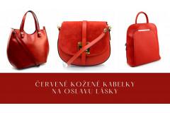 Červené kožené kabelky na oslavu lásky