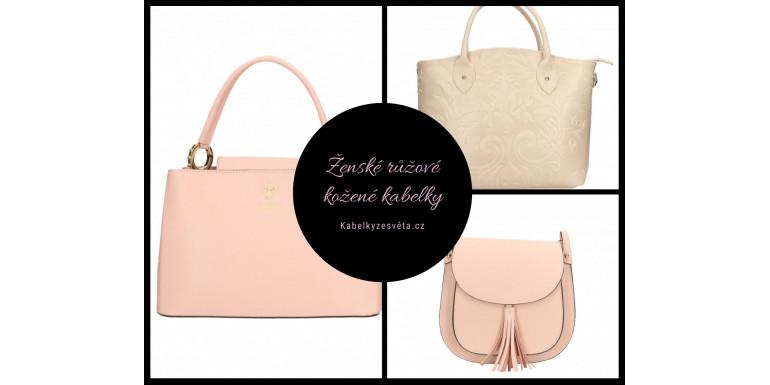 Ženské růžové kožené kabelky