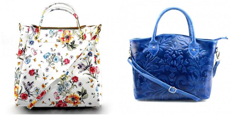 Trendy jarní květinové vzory kožených kabelek