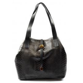 Kožená luxusní menší tmavě hnědá kabelka Elen