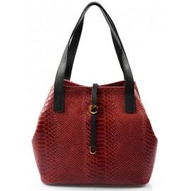 Kožená luxusní menší červená bordó kabelka Elen