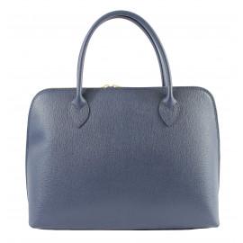 Kožená modrá kabelka do ruky agi