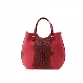 Kožená červená bordó krokodýlí kabelka do ruky agata