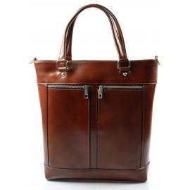 Kožená luxusní vysoká tmavší hnědá kabelka do ruky Tall