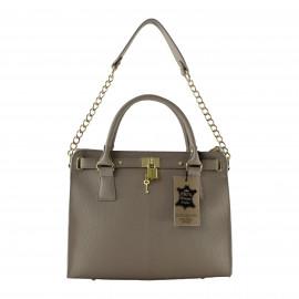 Kožená luxusní béžová kabelka do ruky francesi