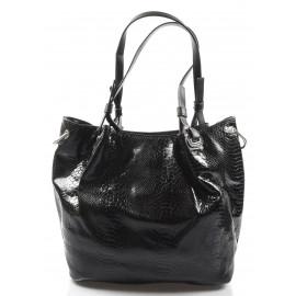 moderní lesklá černá kabelka na rameno star