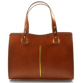 Kožená luxusní koňaková hnědá kabelka Eleanora
