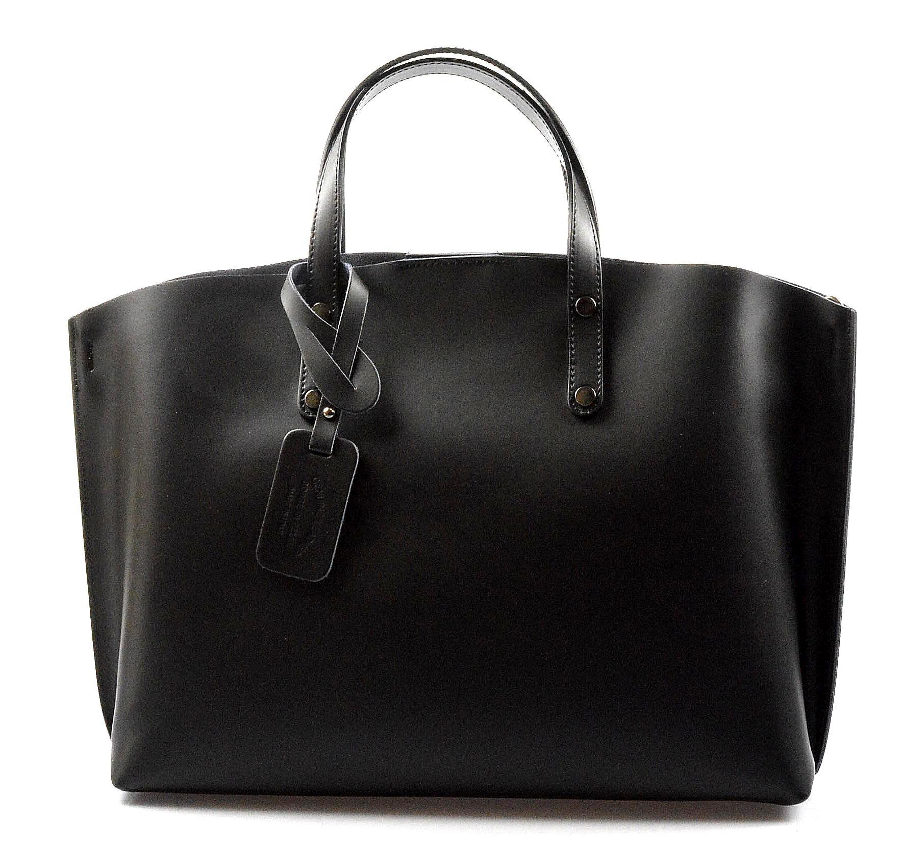 Kožená praktická černá velká taška Tanie 2v1