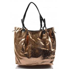 moderní lesklá bronzová kabelka na rameno star