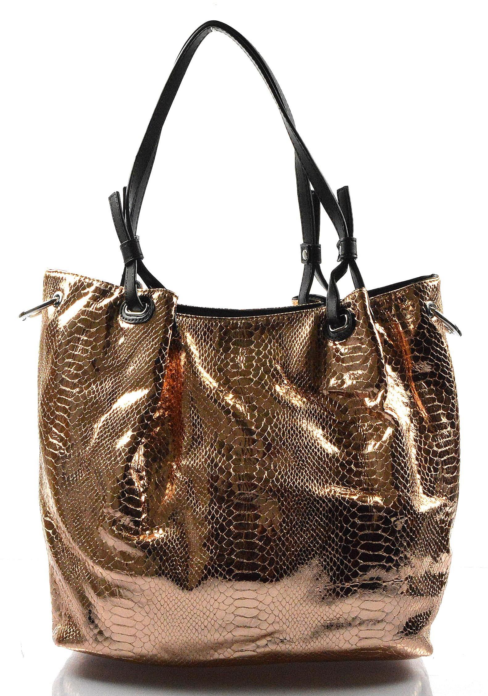 40754edd0a moderní lesklá bronzová kabelka na rameno star - KabelkyZeSveta