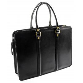 Kožená luxusní černá kabelka do ruky ester
