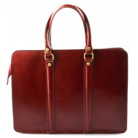 Kožená luxusní červená bordó kabelka do ruky ester