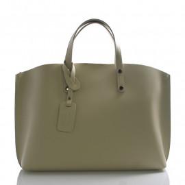 Velká moderní hnědá taupe kožená kabelka přes rameno Tanie 2v1