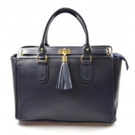 Kožená luxusní modrá kabelka do ruky montana