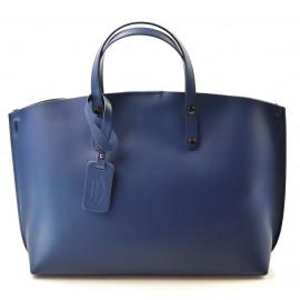Kožená praktická středně modrá velká taška Tanie 2v1