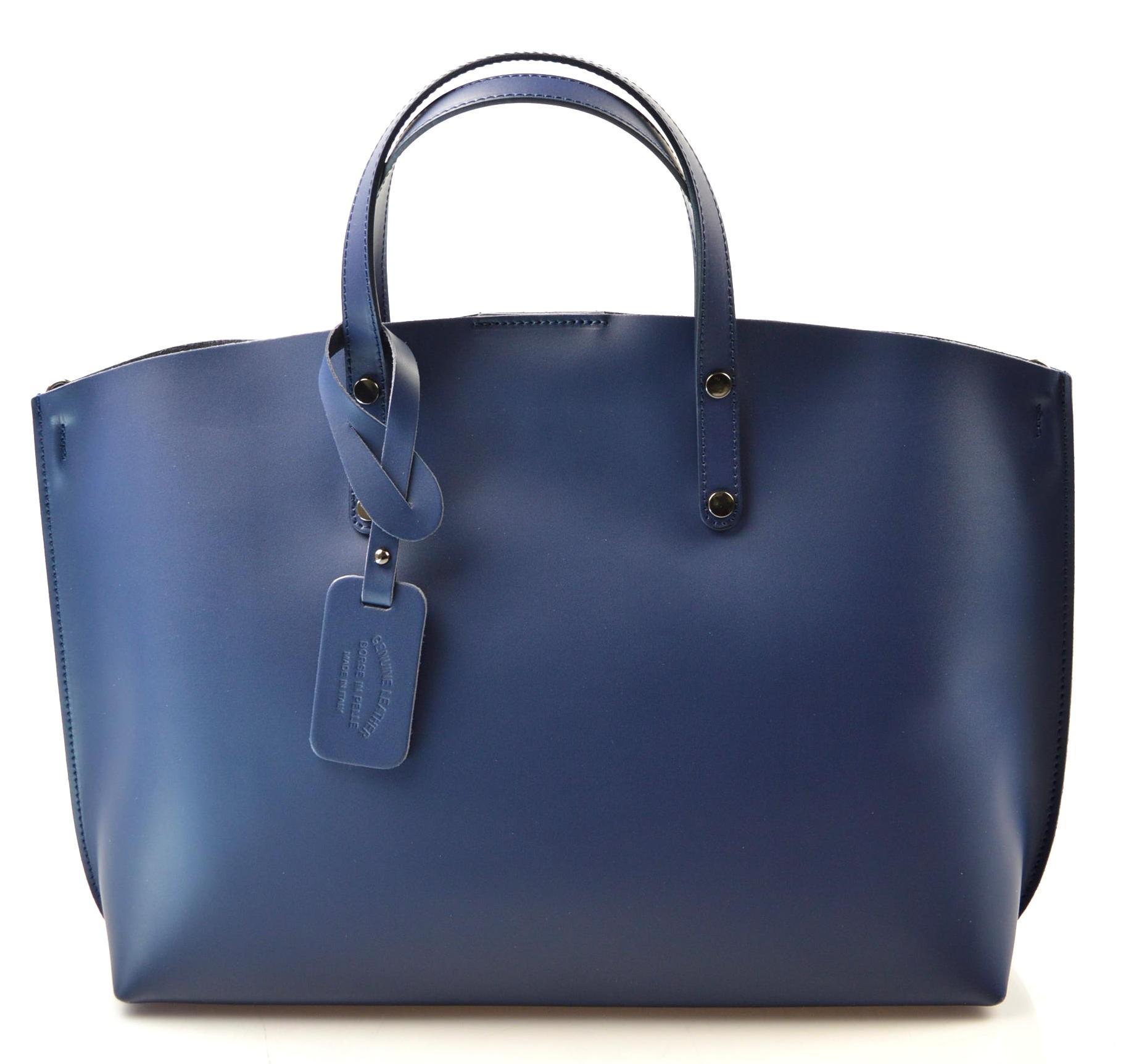 de74842082 Kožená praktická středně modrá velká taška Tanie 2v1 - KabelkyZeSveta