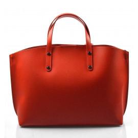 Kožená praktická sytě červená velká taška do ruky Tanie 2v1