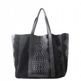 Kožená velká krokodýlí černá taška na rameno janesi 2v1