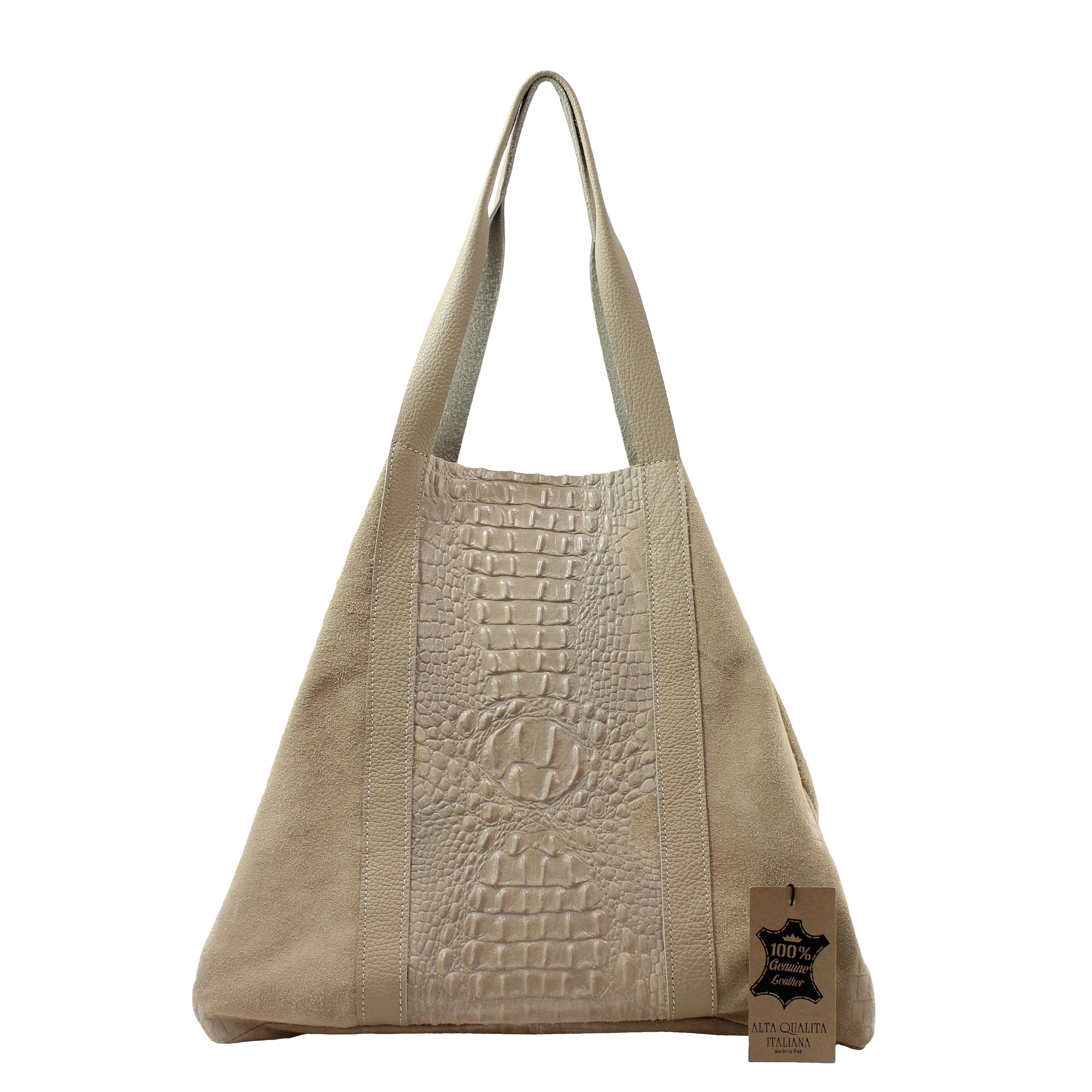 Kožená velká krokodýlí béžová hnědá taška na rameno janesi 2v1