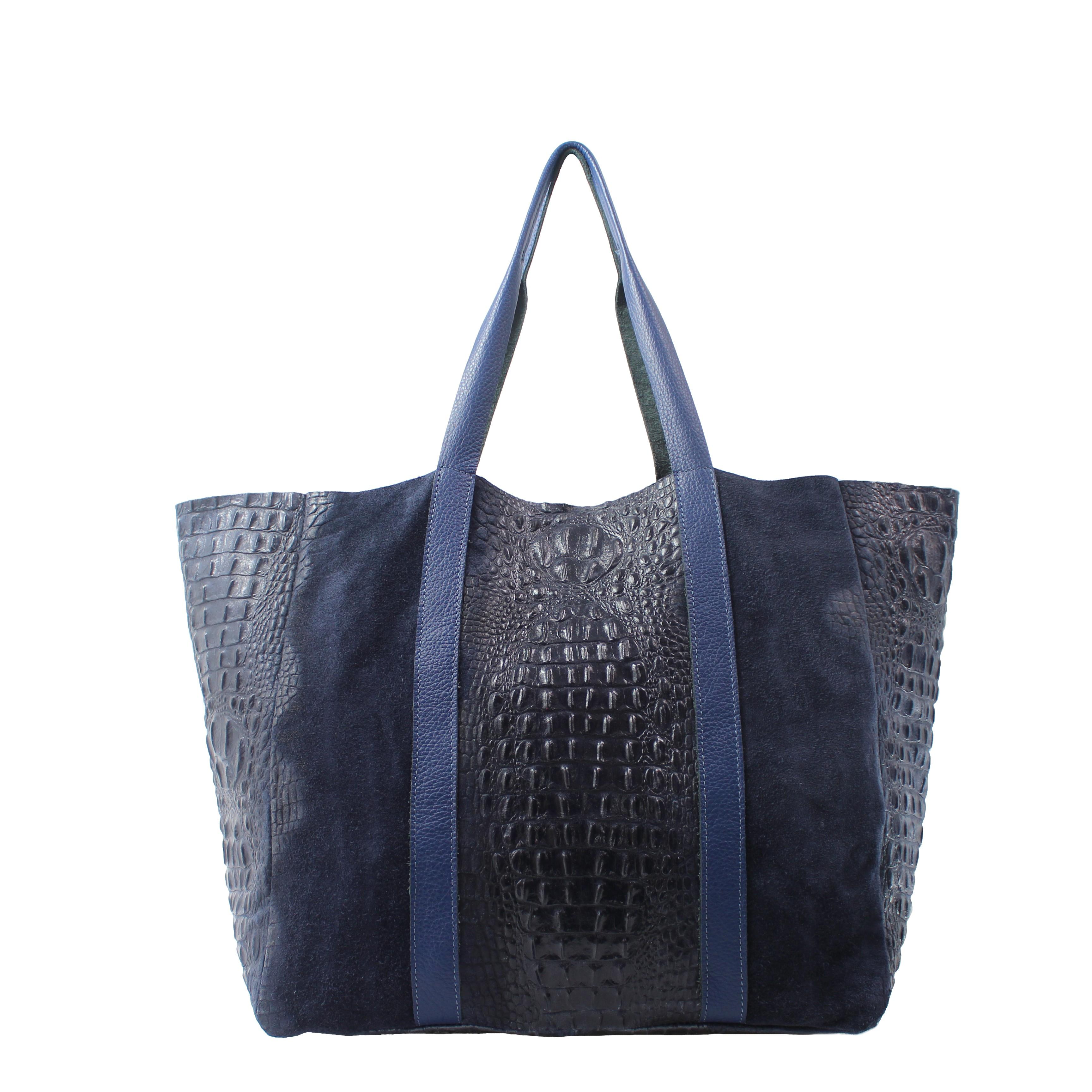 Kožená velká krokodýlí tmavě modrá taška na rameno janesi 2v1