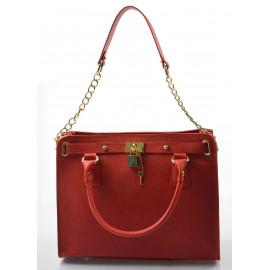 Kožená luxusní červená kabelka do ruky francesi
