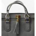 Kožená luxusní šedá kabelka do ruky montana