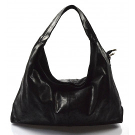 Kožená černá kabelka na rameno jesica