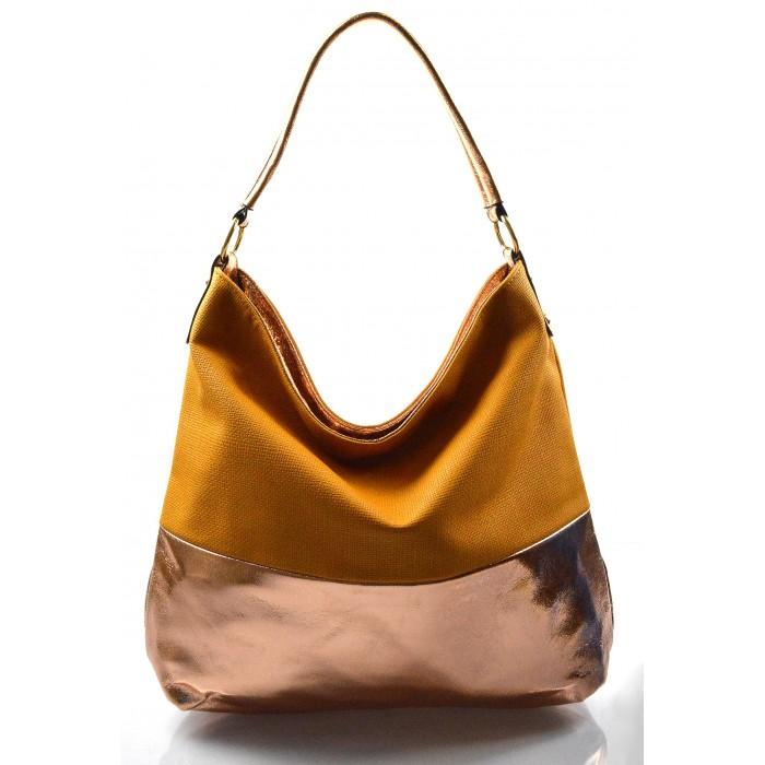 hnědá s bronzovou kabelka na rameno Mina