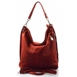 Kožená velká červená bordó kabelka na rameno Justin