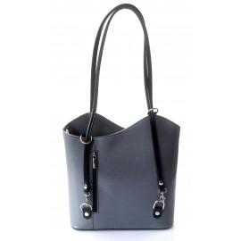 Kožená luxusní šedá s černou crossbody kabelka Grand Royal