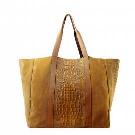 Velká volnočasová koňakově hnědá  kožená kabelka přes rameno Janesi 2v1