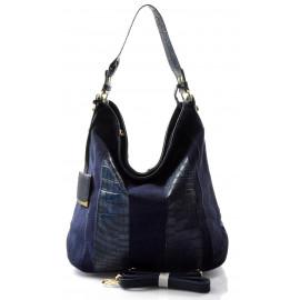 tmavší modrá designová filcová kabelka Sandrine