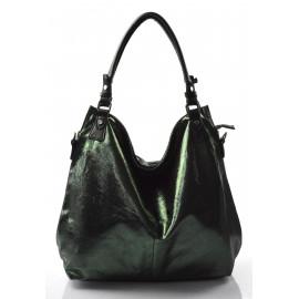 moderní lesklá zelená kabelka na rameno angelica
