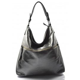 moderní lesklá šedá se stříbrnou kabelka na rameno guliana