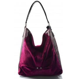 moderní lesklá purpurová kabelka na rameno eden