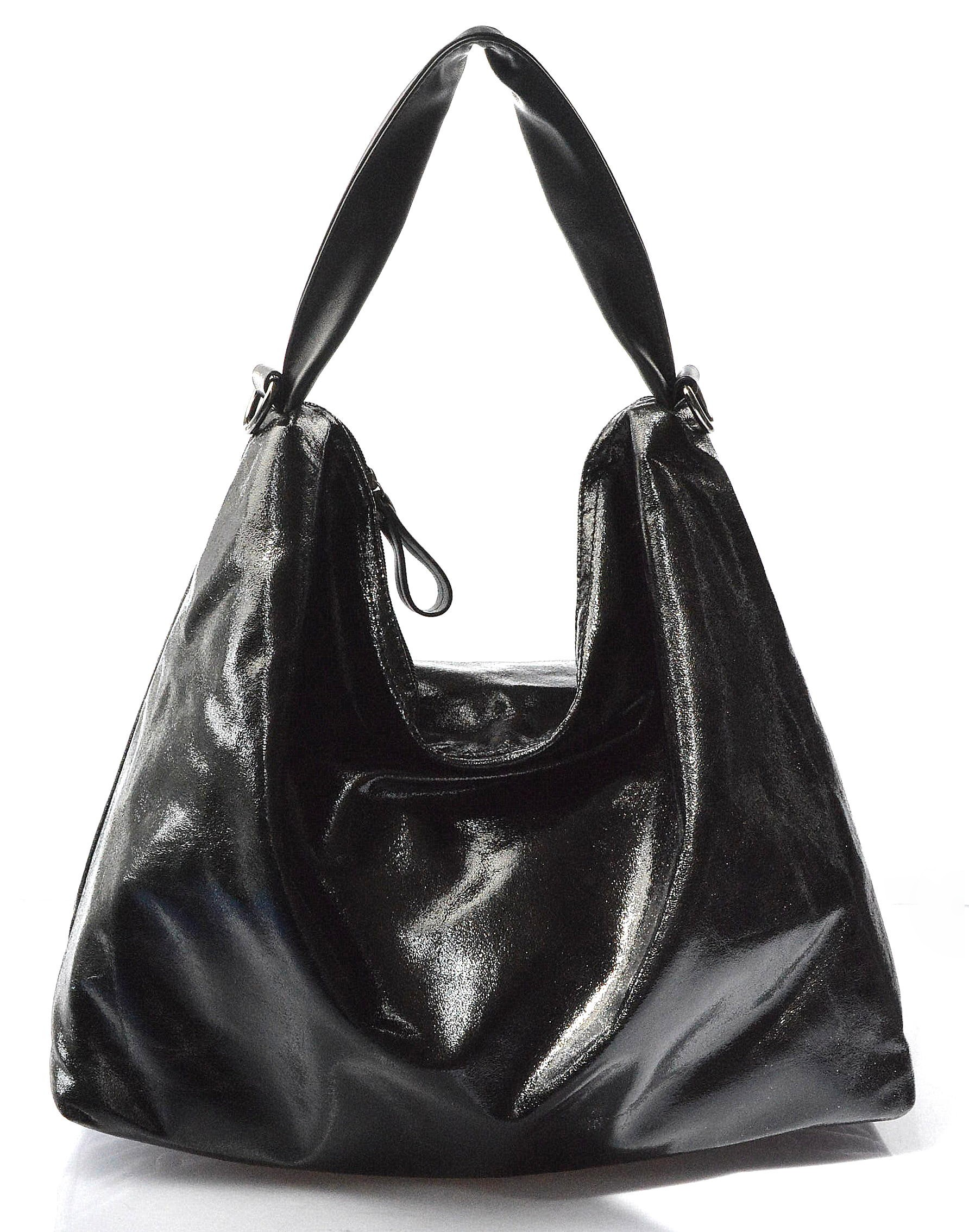73a6872de3 moderní lesklá černá kabelka na rameno erin - KabelkyZeSveta